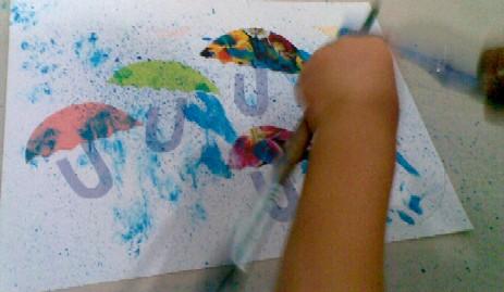 U is for Umbrella-paint!