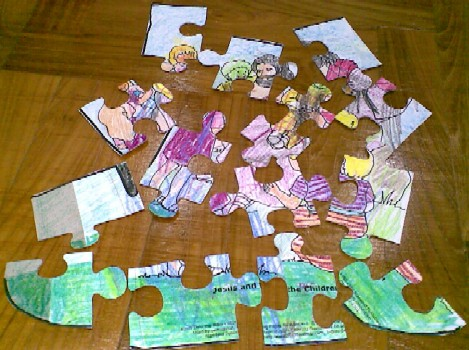 J is for Jigsaw and Jesus-puzzle pieces